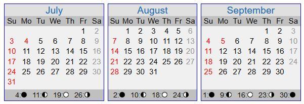 2016 dates